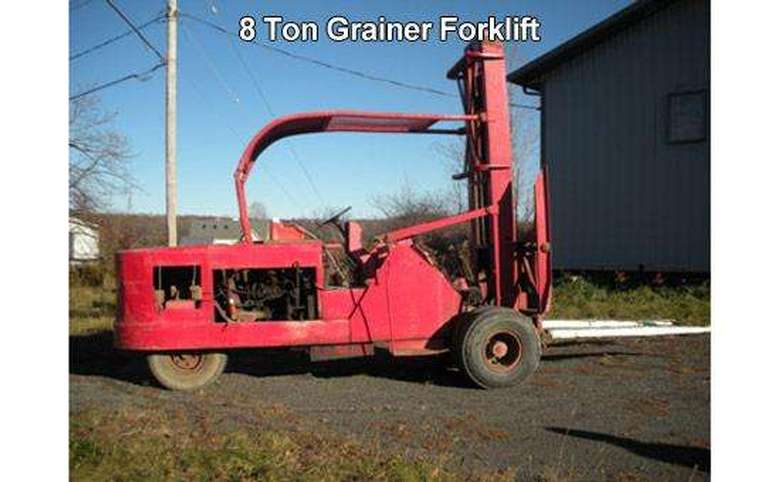 a large red forklift