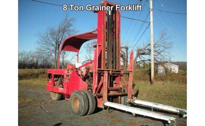 a red grainer forklift