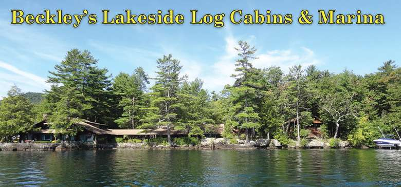 lakeside cabins and marina with trees in the background