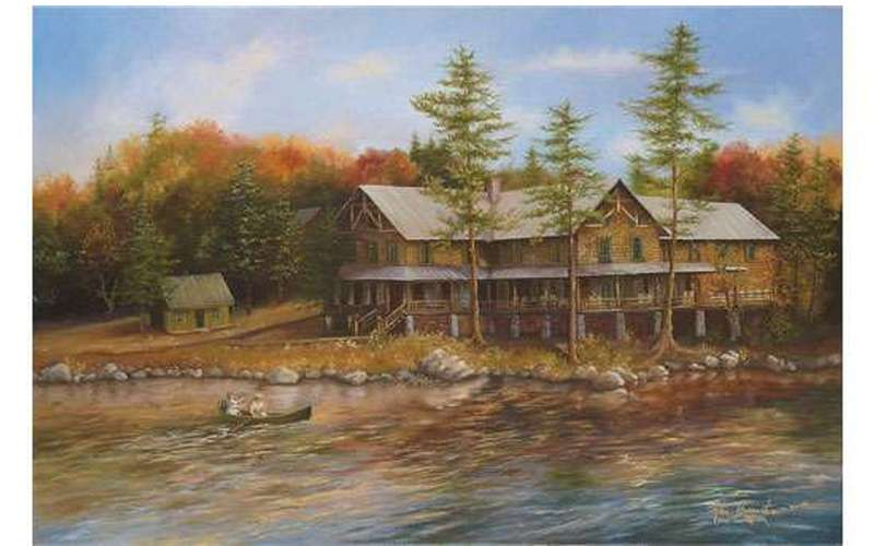 a painting of a large two story rustic building by the waterfront with trees around it