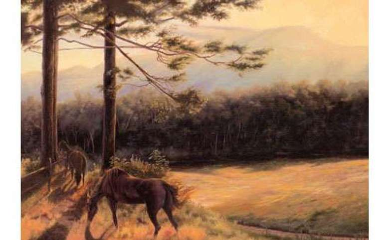 a painting of two horses standing in a field with a forest in the background