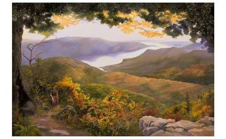 a painting of mountains covered in colorful fall foliage with a lake in the background