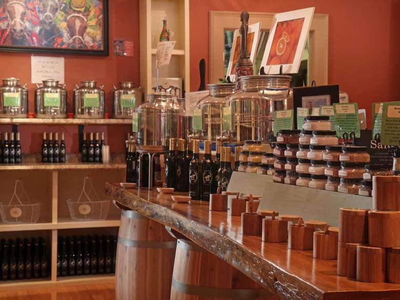 interior of saratoga olive oil's downtown saratoga location