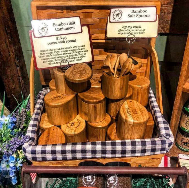 Bamboo Salt Boxes with Matching Spoon