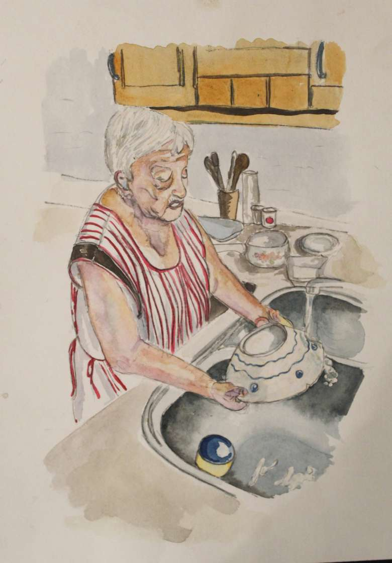 painting of woman washing dishes