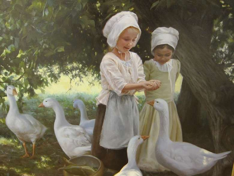 painting of little girls with ducks