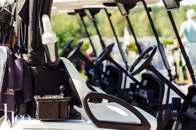 side view of golf carts