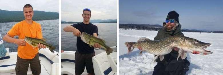 image split in three of men holding up fish