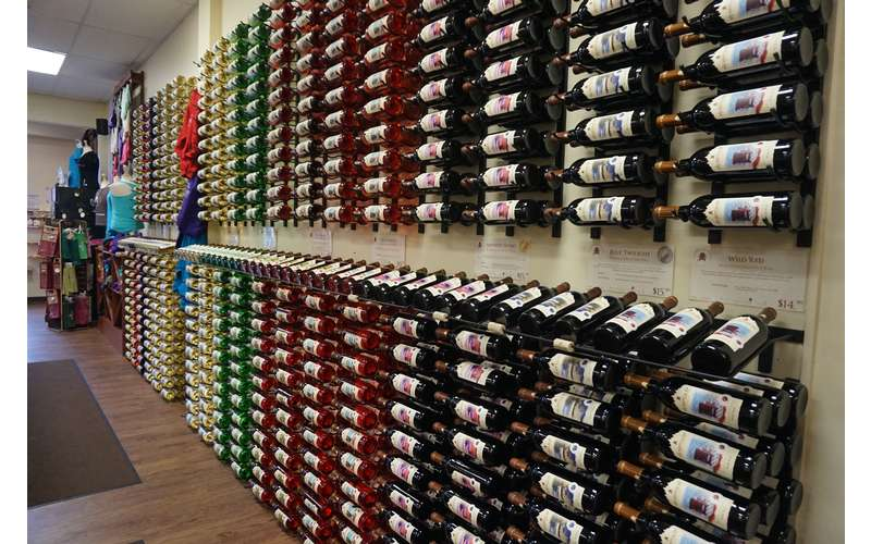 Our #WallofWine makes the perfect photo backdrop!