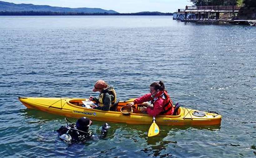 Two people in a yellow kayak and a person in scuba gear surveying samples for Asian clams