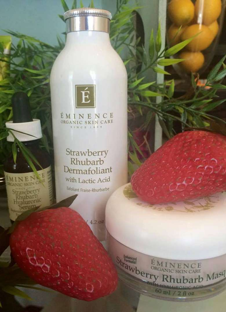 skincare products with strawberries