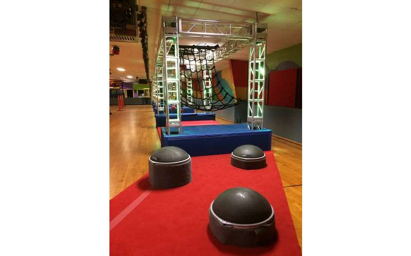 an indoor gym/obstacle course