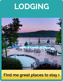 A hotel pool overlooking Lake George