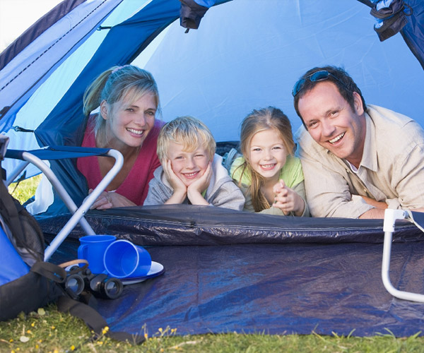 A family in their tent