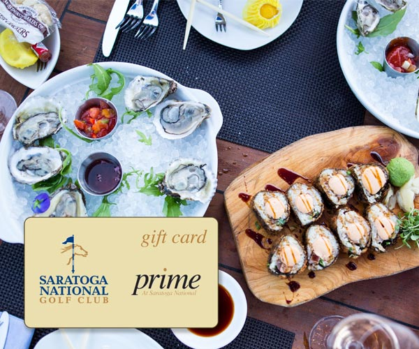 seafood dishes on a table with prime at saratoga national gift card