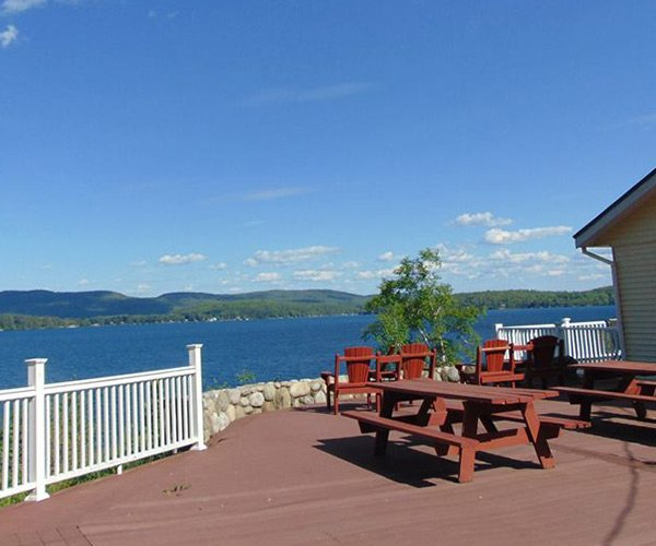 view of lake george from a deck