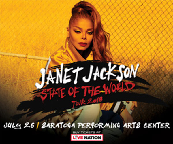 banner announcing janet jackson's concert on july 26