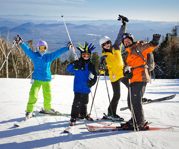 a family of four skiing at gore mountain