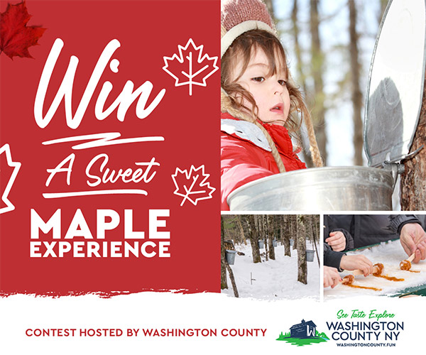 girl reaching into sap bucket and people making maple treats
