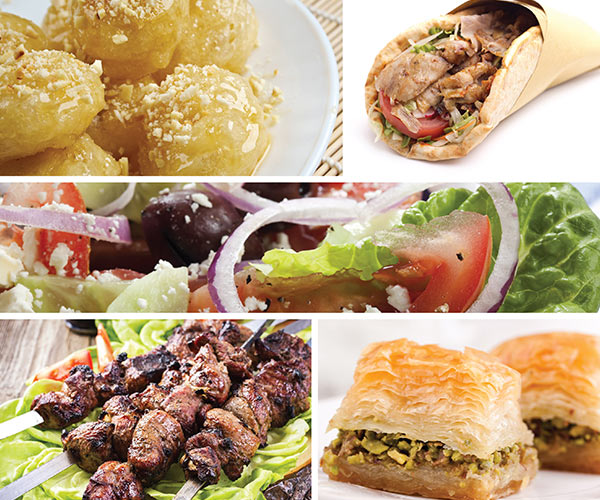 collage of greek foods