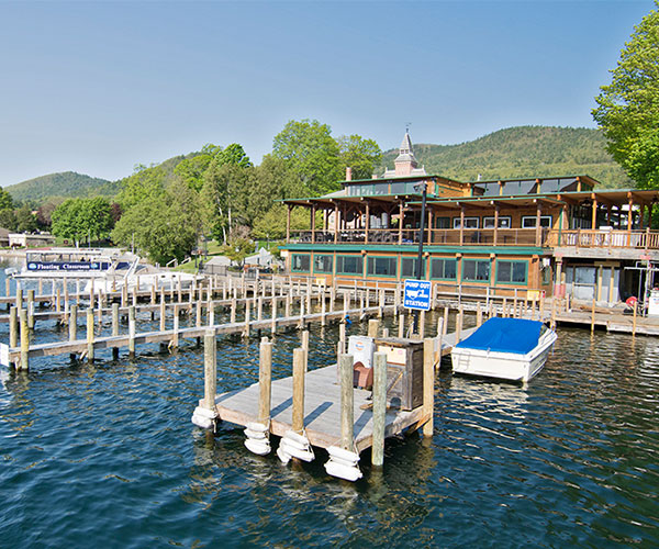 boardwalk restaurant and dock space on lake george