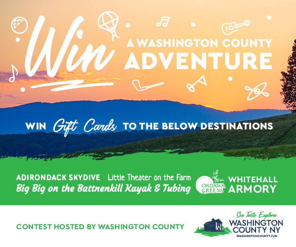 sunrise with text that says win a washington county adventure