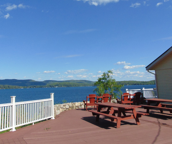view of lake george from a deck at depe dene resort