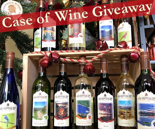 Adirondack Winery wine bottles with Christmas decor