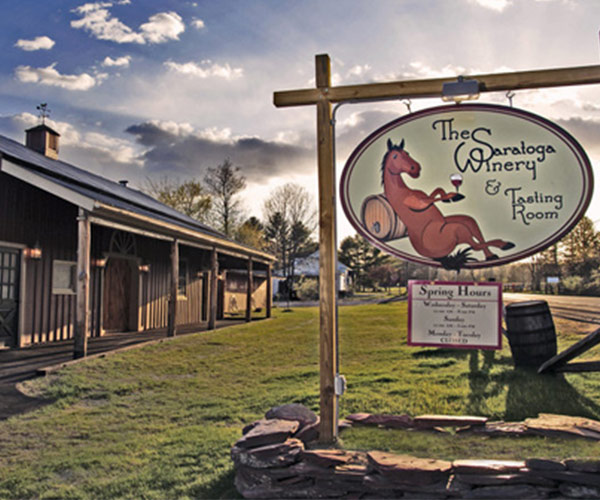 exterior of saratoga winery and sign