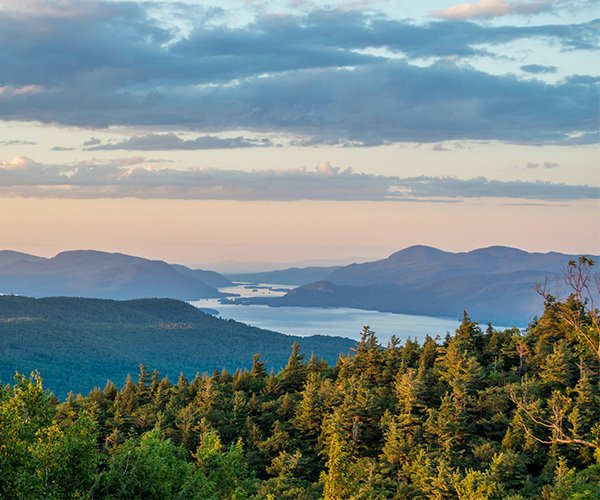 view of lake george from a mountain summit