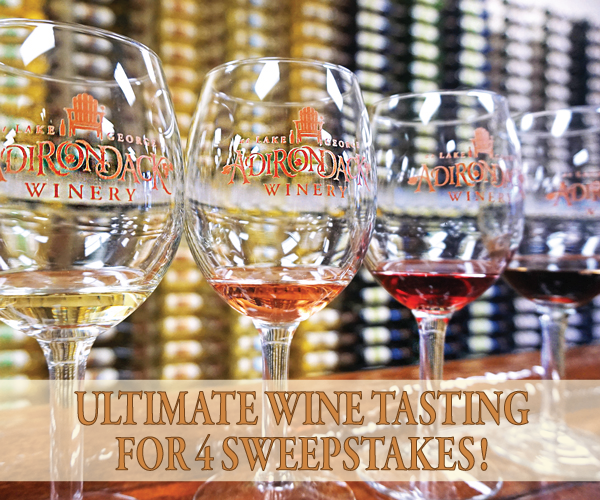 four wine tasting Adirondack Winery glasses with