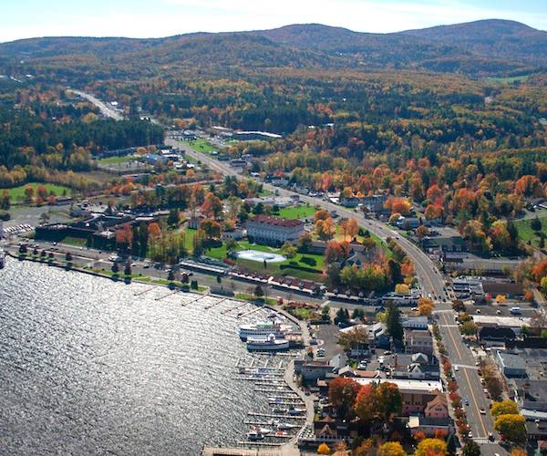 aerial view of Fort William Henry in the fall