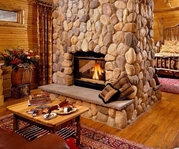 fireplace in private room at Fern Lodge