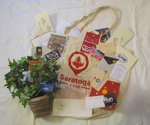 Saratoga.com bag with holiday gift certificates
