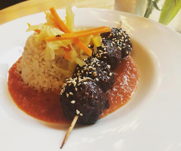 meatless meatballs over rice