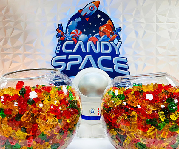 bowls of gummy bears at the candy space