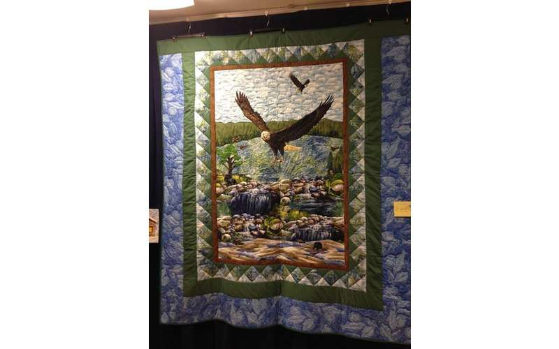 Quilt display at the Thurman Quilt Show