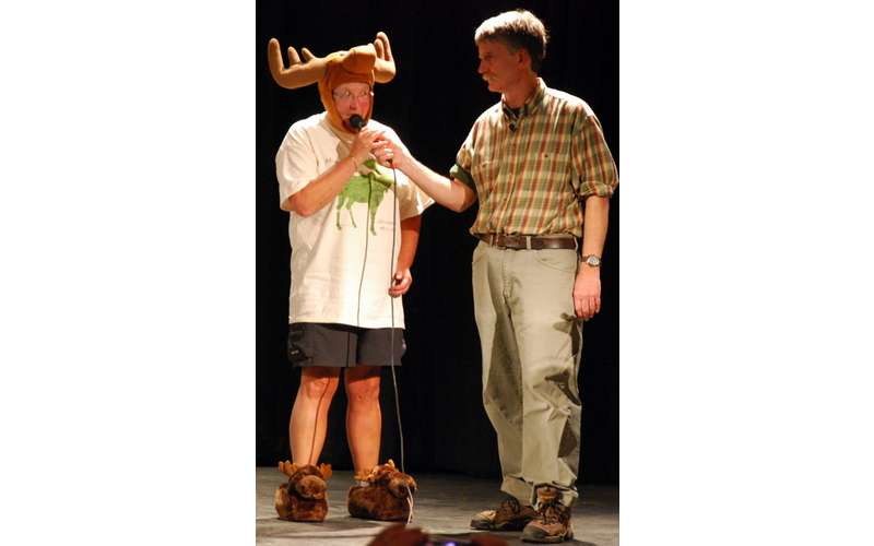 person wearing a moose hat