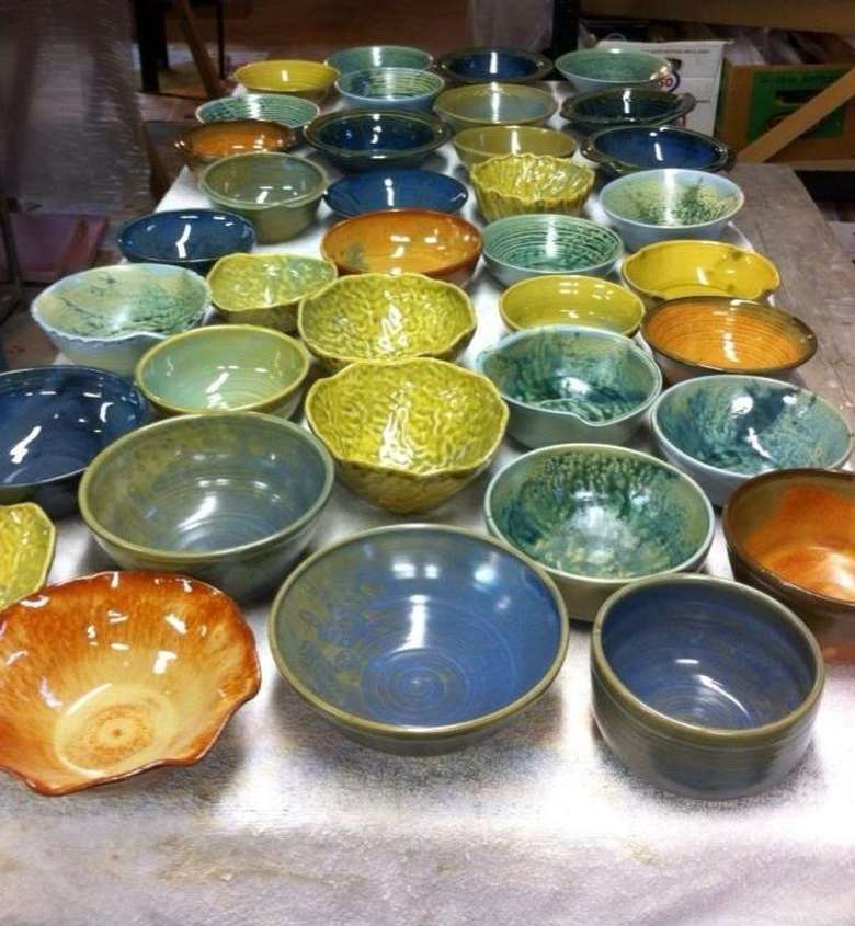 different colored pottery bowls