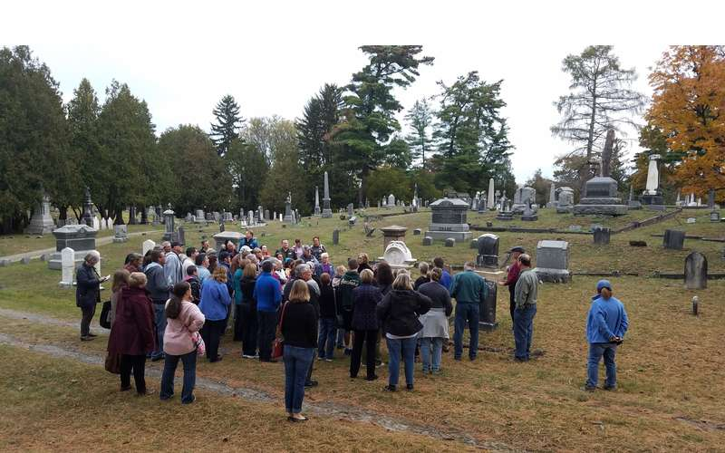 large group on a cemetery tour