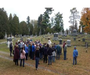 people gathered for a tour at greenridge cemetery