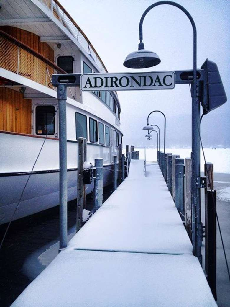 dock leading to the adirondac boat