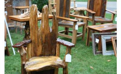 rustic chairs on display
