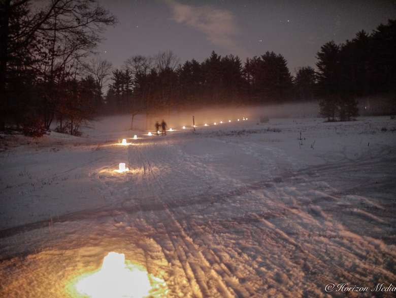 snowshoeing by candlelight