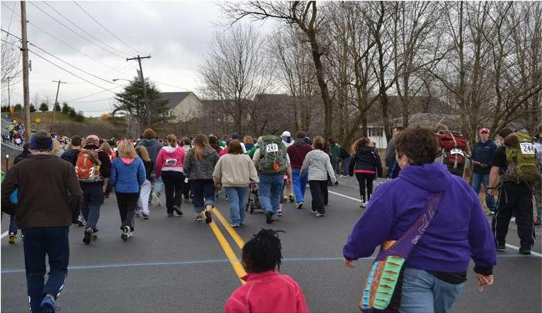 large crowd walking during a 5k