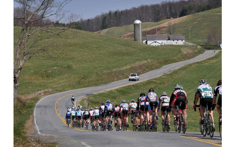 view of cyclists going down a long road from the back