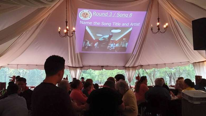people doing trivia in a tent