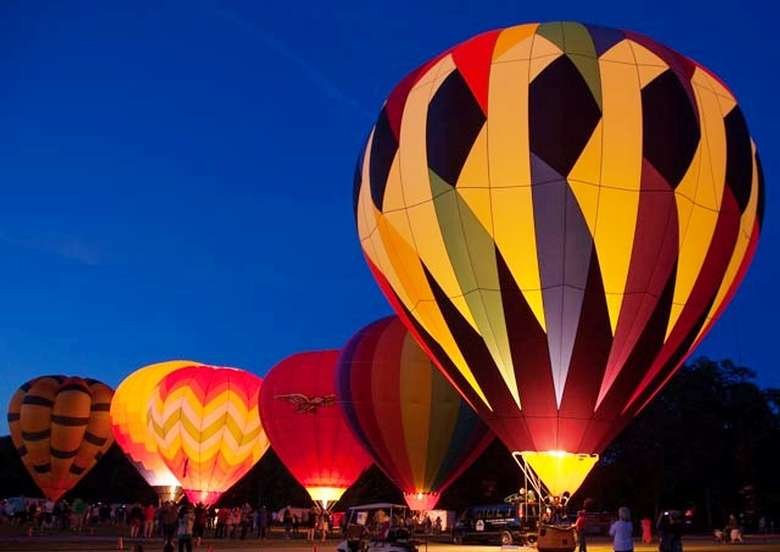 inflated balloons at night