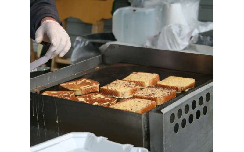 french toast being grilled