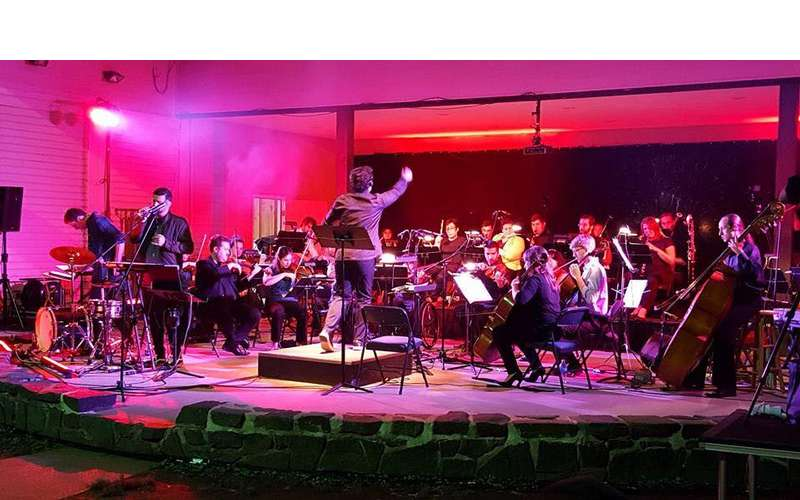 a conductor and an orchestra with pink lighting